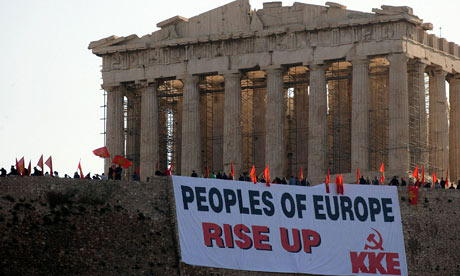 banner at Acropolis, reading Peoples of Europe, rise up!
