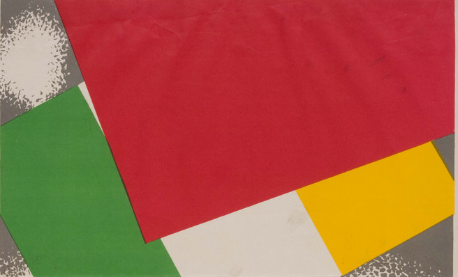 detail from anti communist poster showing red flag over irish tricolour