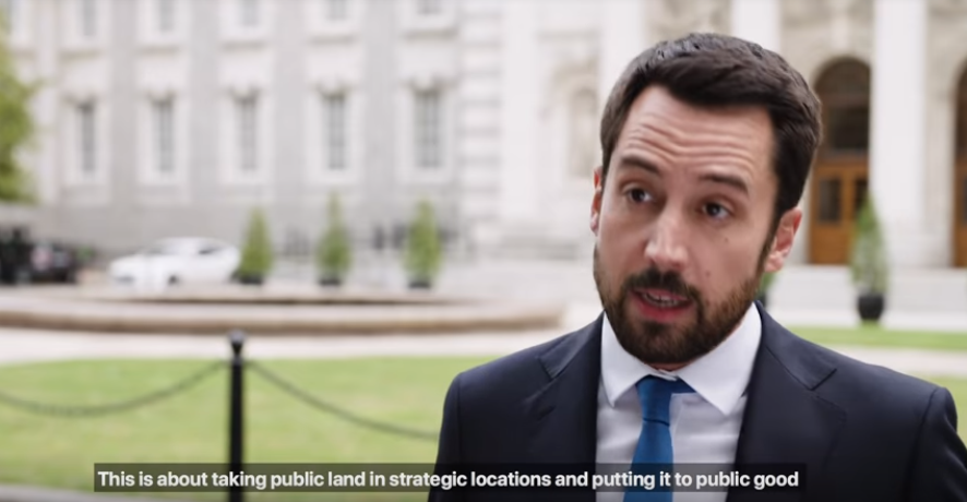 A photo Minister Murphy launching the Land Development Agency at Government Buildings with the subtitle