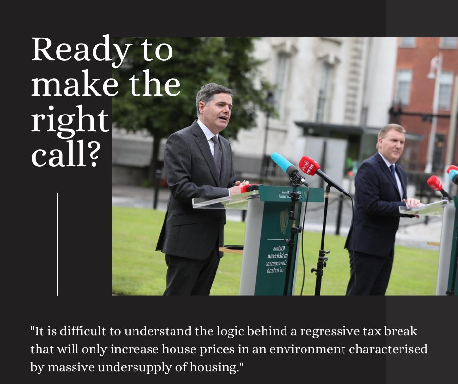A black background with a photo of Minister Paschal Donohoe and Michael McGrath on the lawn at Government Buildings. Text reads