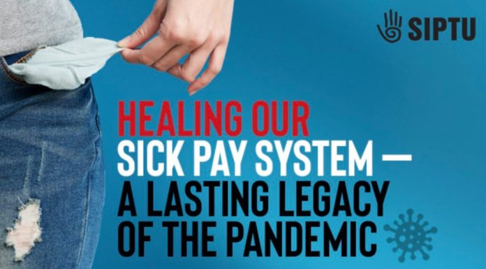 A poster from SIPTU saying Healing Our Sick Pay System: A Lasting Legacy of the Pandemic
