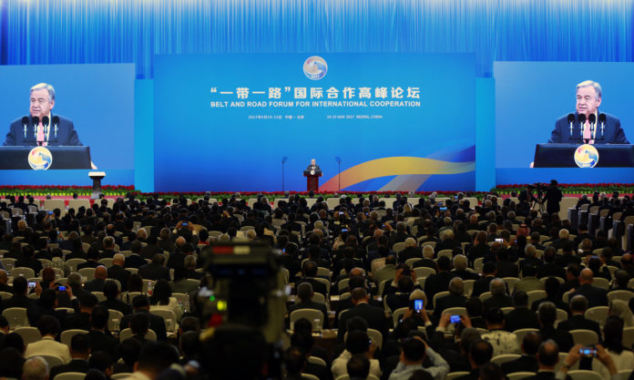 A photo of Secretary-General António Guterres addresses the Belt and Road Initiative Forum on International Cooperation.