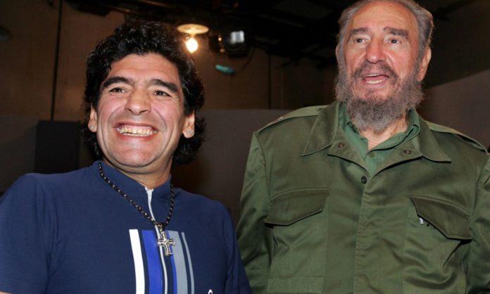 Diego Maradona smiles broadly beside Fidel Castro