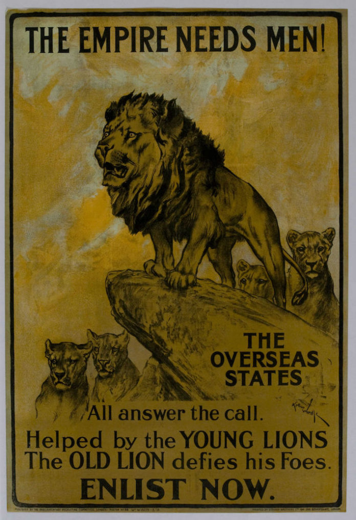 The artist Arthur Wardle used the imagery of a pride of lions with the text 'The Empire needs men!' This poster printed in 1915 addresses the Commonwealth stating 'The overseas states all answer the call. Helped by the young lions the old lion defies his foes. Enlist now.'