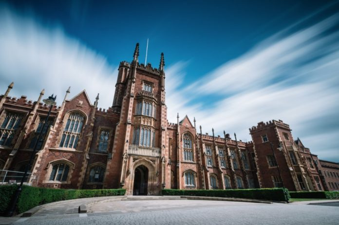 A photo of the front of QUB.
