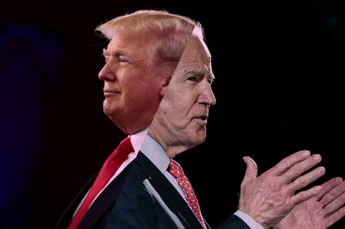 An image split in two with Trump and Biden.