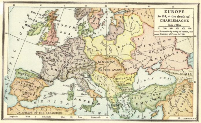 A map of Europe in 814 C.E.