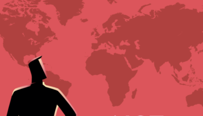 A cartoon man stands in front of a map of the world. This image is taken from the cover of the FJI Business Studies report.