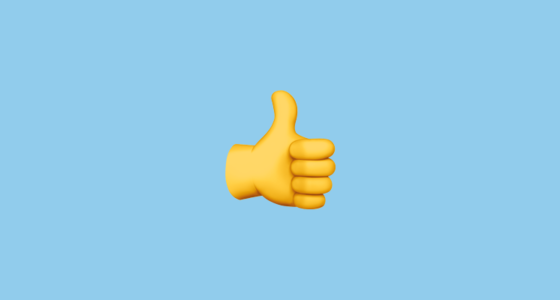 a thumbs up emoji on a blue background