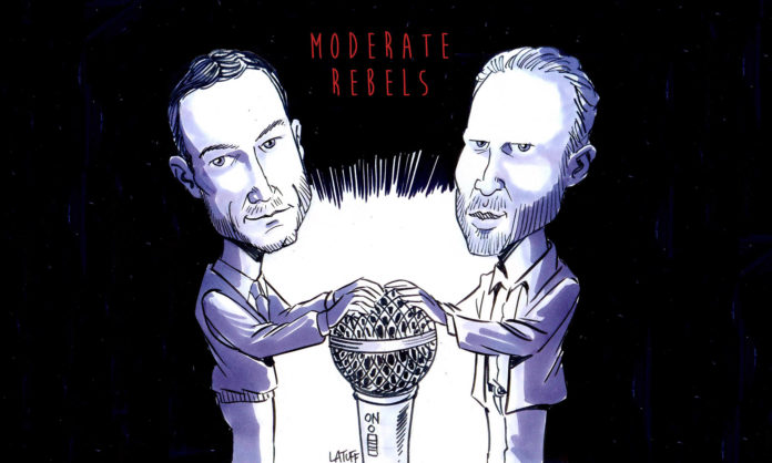 A cartoon of Ben Norton and Max Blumenthal holding on to a large microphone that's like a globe.