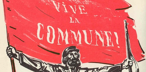 A communard stands in front of a red flag that says Vive La Commune.