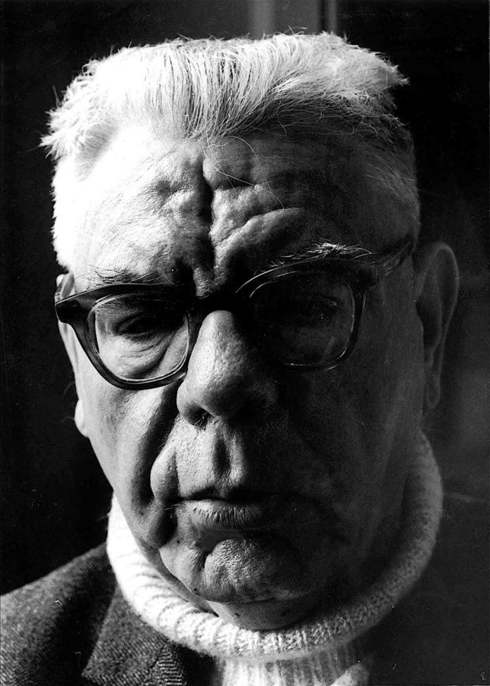A black and white photo of Máirtín Ó Cadhain.