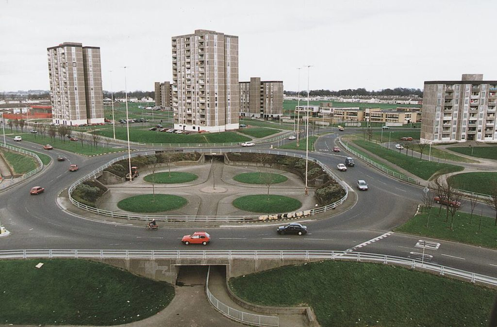 The Ballymun flats with the photo taken in front of the roundabour