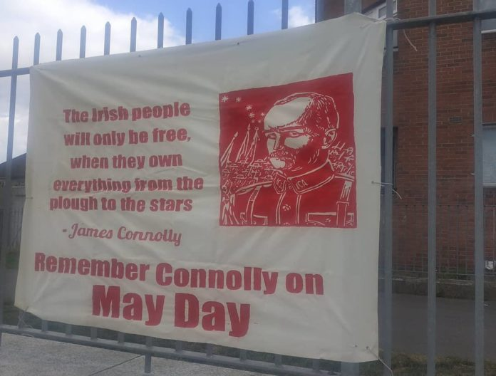 A white banner with white writing that days