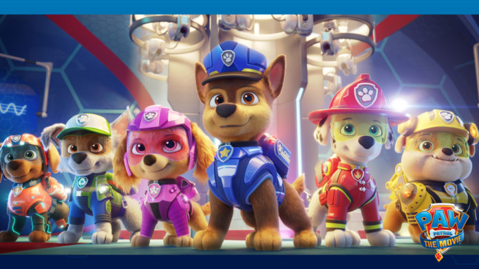 A promotional image from Paw Patrol: The Movie of six cartoon dogs in uniforms.